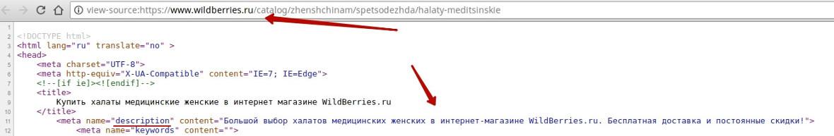 Пример description на сайте
